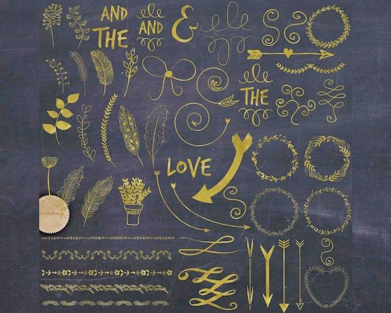 Hand Drawn Clip Art Gold Wedding Clipart Digital Scrapbook Signs Chalkboard Printable Buy 2 Get 1 FREE