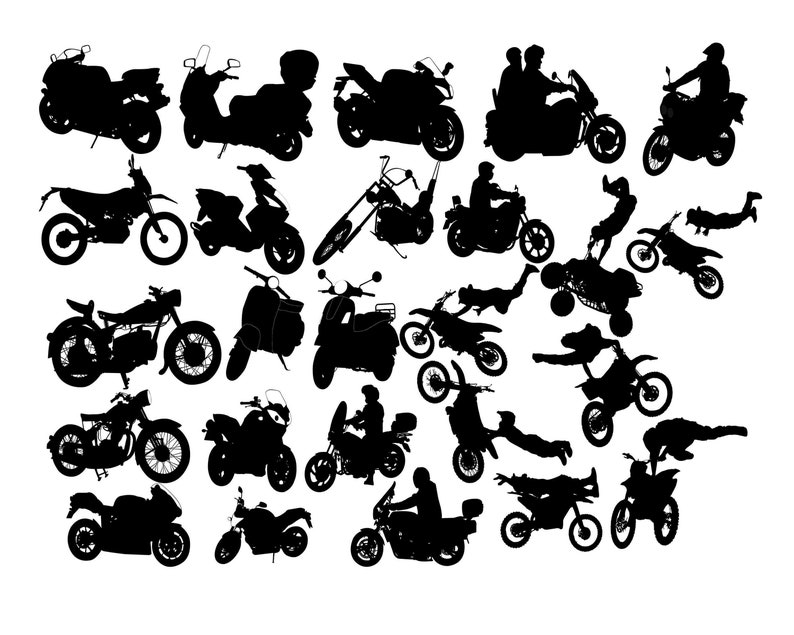 Motorcycle Silhouette Motorcycle Clipart Rider Silhouette Etsy
