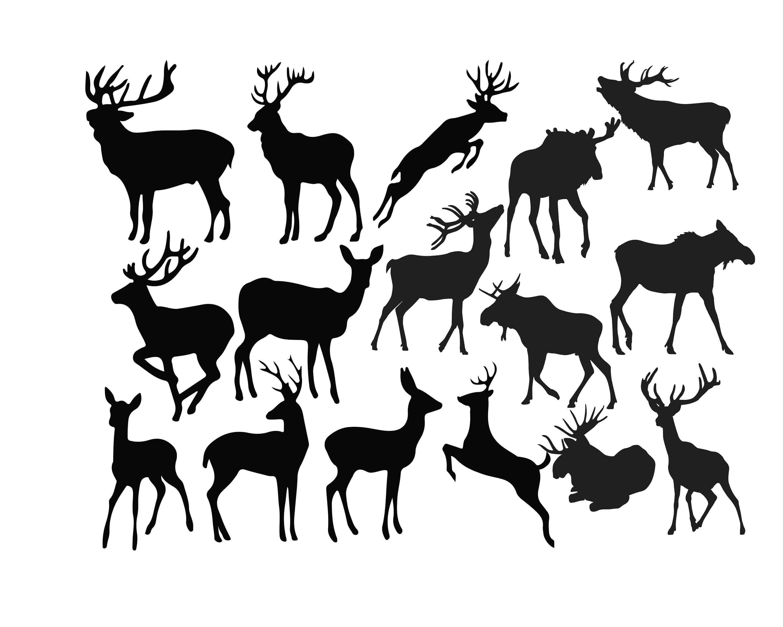 Deer Silhouette Deer Clipart Animal Clip Art Wild animal ...