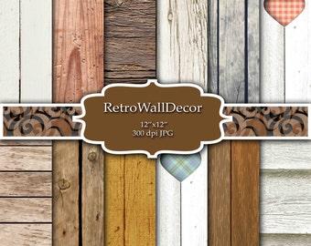 Rustic Wood Digital Paper Set with distressed wood textures , Distressed Wood , Rustic Wood , Digital paper pack 12x12 Buy 2 Get 1 FREE