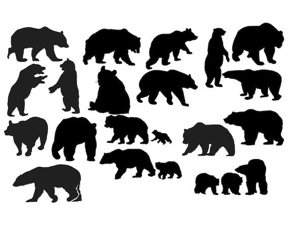 Bear Silhouette Bear Clipart Animal Clip Art Wild animal ...