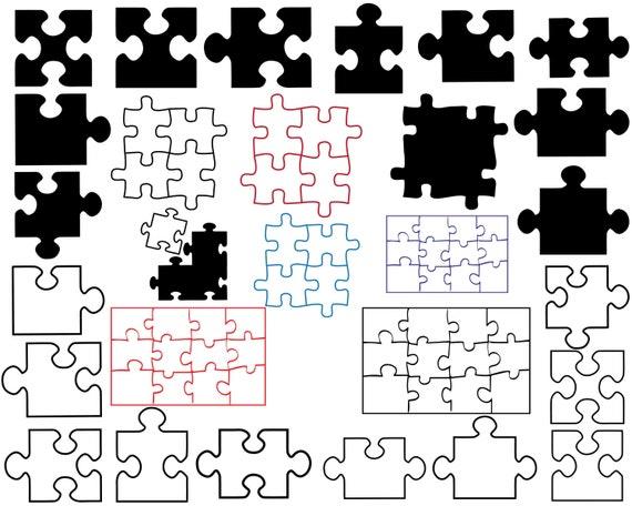 Puzzle Silhouettes Puzzle Clipart Puzzle Svg Puzzle Dxf Etsy