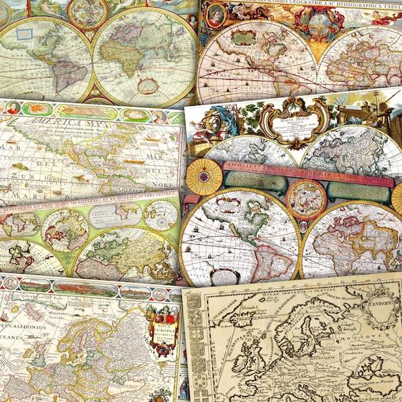 Vintage maps digital map world map europe map america old etsy image 0 gumiabroncs Choice Image