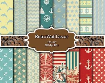 Nautical digital paper, nautical backgrounds , sea digital paper , sea patterns , nautical scrapbook summer digital paper Buy 2 Get 1 FREE