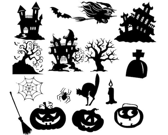 Halloween Clipart Halloween Clip Art Halloween Silhouette Etsy