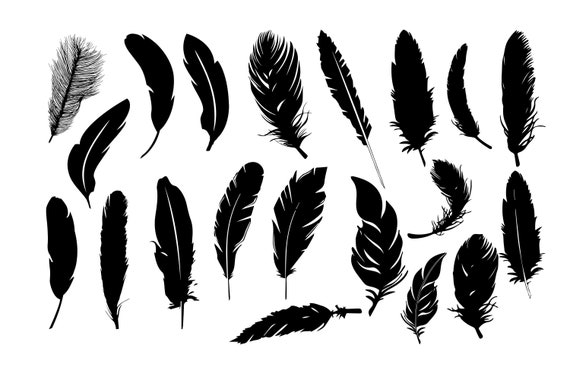 Feather Silhouettes Feather Clipart Feather Svg Feather Etsy