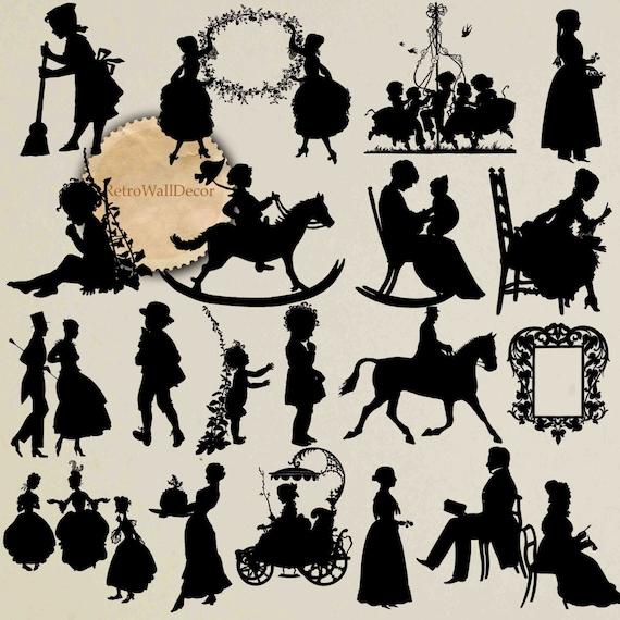 Vintage Silhouettes Couple Silhouette Children Clip Art Etsy