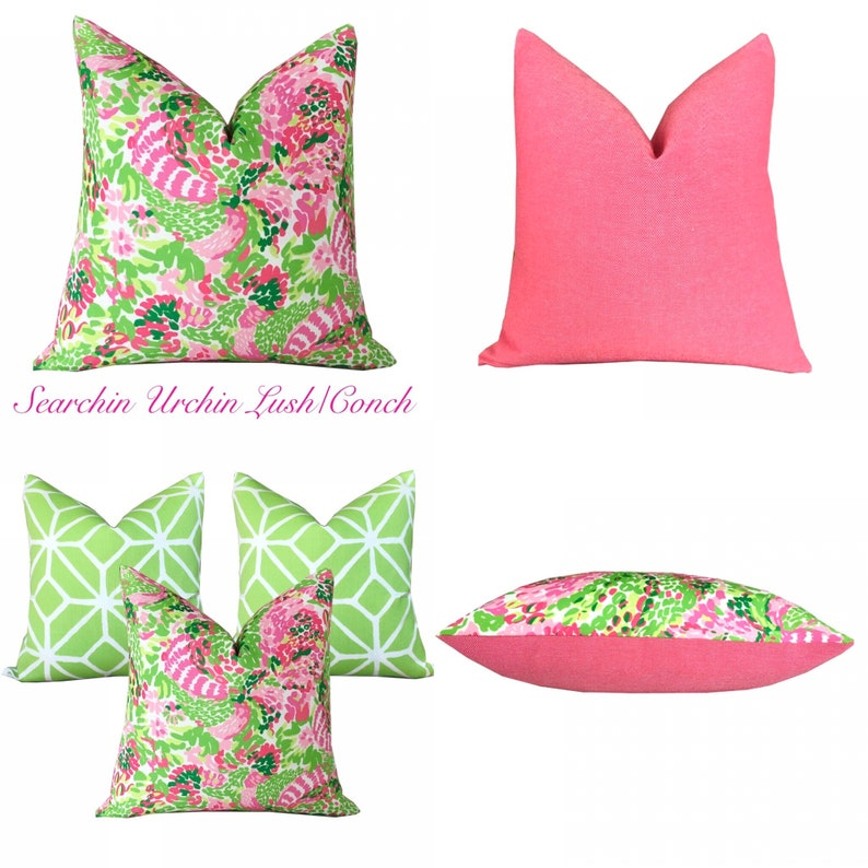 Lilly Pulitzer Searchin Urchin LushConch IndoorOutdoor Pillow Cover-Pink and Green Tropical Designer Pillowcase for Patio and Sunroom