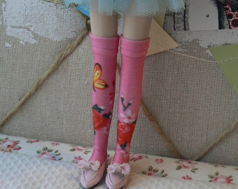 259fd41a727 Pink over the knee Blythe socks with roses patterns handmade in Paris France