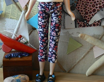 Blythe legging with flowers  Pants Blythe clothes han made in France