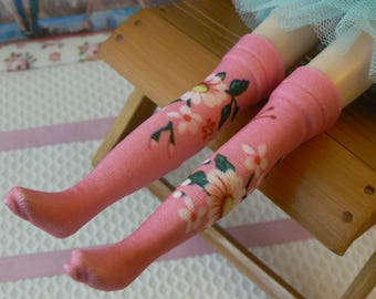 fc31f70ed5e Pink over the knee Blythe socks with patterns handmade in Paris France