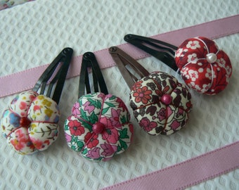 Liberty of London fabric hair clip hand made in Paris France
