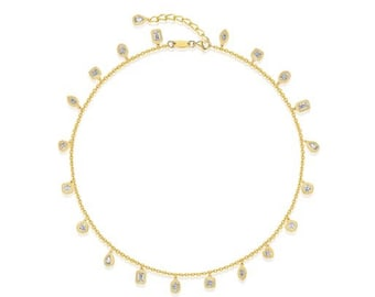High fashion design necklace, Multi-stone necklace, Elegant & Stylish necklace, Gold necklace, Wedding necklace, Evening dress necklace