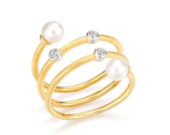 Freshwater pearl stylish ring, High-quality ring, Multi-stone ring, Pearl ring, Pearl gold ring, Sterling Silver Pearl Ring, Women Ring