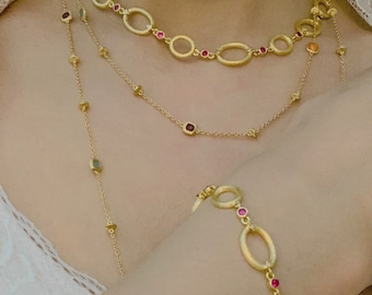 Ruby necklace, Gold necklace, Chain necklace, Multi-stone necklace, Sterling Silver necklace, High-quality designer jewelry