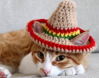 Cat Sombrero, Sombrero for Cats, Sombrero Hat with Ear Holes for Cats and XS Dogs, Cinco de Mayo Cat Hat, Fiesta Hat for Cats, Taco Cat Hat