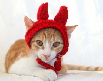 Devil Cat Hat, Devil Pet Costume, Devil Horns for Cats, Devil Costume for Small Dogs, Halloween Cat Costume, Funny Pet Costume