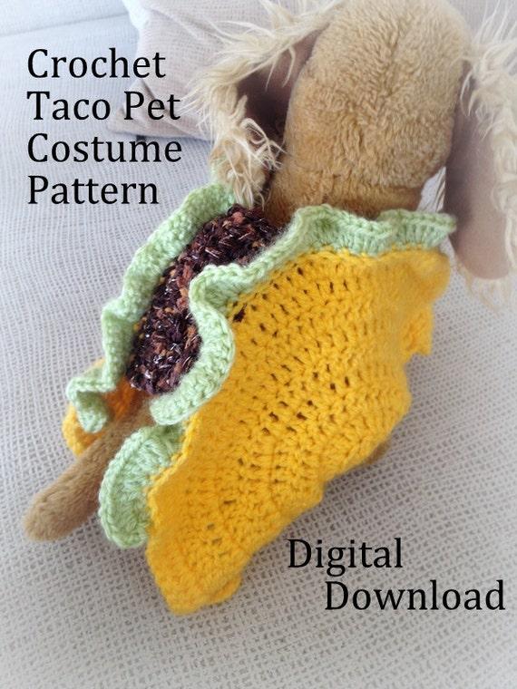 Taco Pet Costume Crochet Pattern Taco Cat Crochet Pattern Etsy