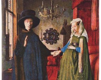 Van Eyck Painting Wall Decor - Belgian Tapestry Wall Hanging - Arnolfini Portrait - Renaissance Decor - Wall Tapestry Hanging