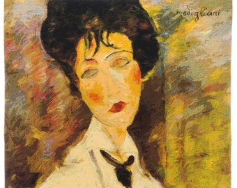 Modigliani Reproduction Tapestry Wall Hanging - Woman with Black Tie Wall Hanging Tapestry - Italian Art Decor