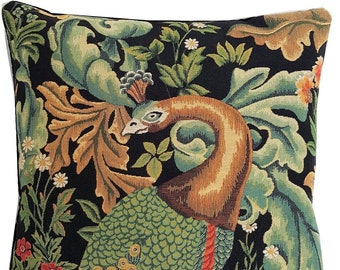 Peacock Pillow Cover - William Morris Blackforest Cushion Cover - Morris Home Decor - Gobelin Pillow Case - Belgian Tapestry Pillow