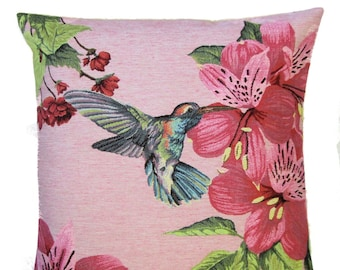 Hummingbird Pillow Cover - Hummingbird Gift - Pink Pillow - 18x18 Cushion Cover - Flower Pillow Decor - Belgian Tapestry Throw Pillow