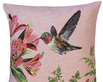 jacquard woven belgian tapestry cushion pillow cover hummingbird picking flowers