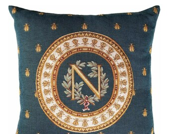 Napoleon Pillow Cover  - French Decor - Napoleon Gift - Bee Pillow Cover - Blue Decorative Pillow - Gobelin Cushion Cover - Napoleon Emblem