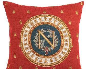 Napoleon Pillow Cover  - French Decor - Napoleon Gift - Bee Pillow Cover - Red Decorative Pillow - Gobelin Cushion Cover - Napoleon Emblem