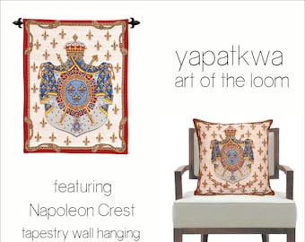 French Tapestry Wall Hanging and Pillow Cover - Napoleon Coat of Arms wall hanging - Fleur de Lys wall decor - Royal crest Coat of arms