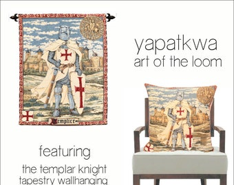 Templar Knight Tapestry Wall Hanging - Templar Armor Gift - Templer Pillow Cover - Medieval Decor - Wallhanging and Pillow Cover Set
