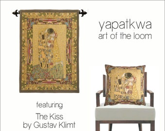 Klimt Tapestry Wall Hanging and Pillow Cover - Klimt The Kiss Wall Tapestry - Gustav Klimt Wall Tapestry Hanging - Klimt Gift - Museum Decor