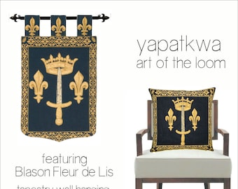 Fleur de Lis Tapestry Wall Hanging and Pillow Cover - Sword and Crown Tapestry - Medival Decor - Frnech Decor - Belgian Tapestry