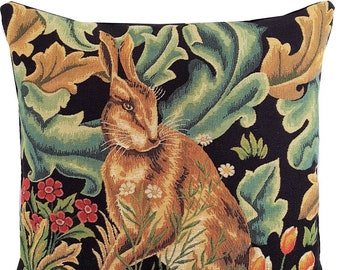 Rabbit Pillow Cover - William Morris Blackforest Cushion Cover - Morris Home Decor - Gobelin Pillow Case - Belgian Tapestry Pillow