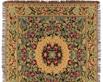 William Morris Throw Blanket - 56x56 Belgian Tapestry Throw - William Morris Design Throw Blanket - TT-734
