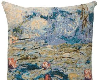 jacquard woven belgian gobelin tapestry cushion pillow cover Les Nymphéas by Claude Monet