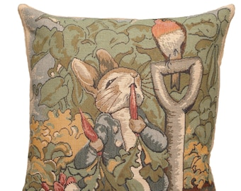 "jacquard woven belgian tapestry cushion pillow cover Peter Rabbit gardener by Beatrix Potter 14""x14"" - PC-871"