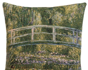 jacquard woven belgian gobelin tapestry cushion pillow cover The Bridge of Giverny by Claude Monet