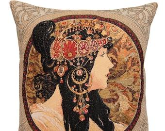 Mucha Gift -Alphonse Mucha Pillow Cover - Mucha Belgian Tapestry Cushion - Byzantine Brunette Throw Pillow