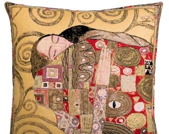 Museum Replica Pillow Cover - Gustav Klimt Pillow - The Fulfilment Klimt Gift - 18x18 Belgian Tapestry Cushion Cover