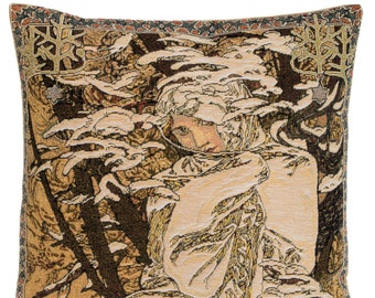 belgian gobelin tapestry cushion throw pillow cover winter season by Alphonse Mucha - PC-18G