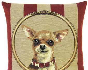 chihuahua pillow cover - chihuahua gift - chihuahua decor - chihuahua belgian tapestry cushion - 18x18 dog pillow - PC-5602