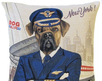 Pilot Pillow Cover - Pilot Gift - Aircraft Gift - Rhodesian Ridgeback Pillow - Rhodesian Ridgeback Gift - New York Gift - PC-5606