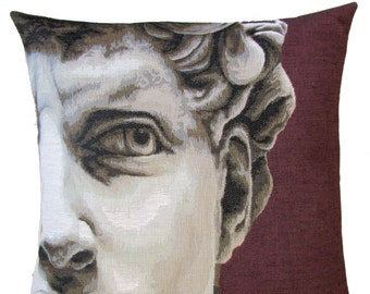 jacquard woven belgian tapestry pillow cushion David by Michelangelo