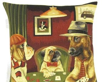 belgian tapestry pillow cover - english bulldog pillow-  pug cushion - rhodesian ridgeback pillow -  playing poker - poker gift - PC-5461