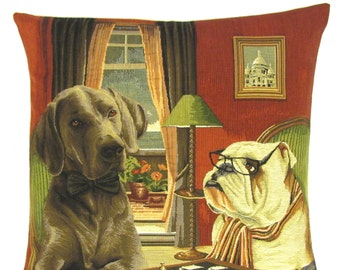 Funny Dog Decor - Dog Throw Pillow - Dogs playing chess - English Bulldog Gift - Weimaraner Lover Gift - Tapestry Pillow - 18x18 pillow