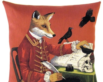 """jacquard woven belgian tapestry gobelin throw pillow cushion with steampunk fox writer skull and black raven 18""""x18"""" - PC-5555"""