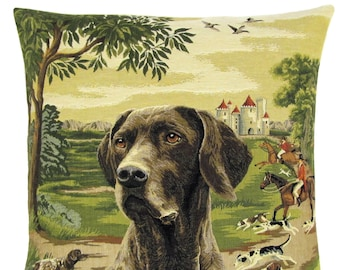 Pointer Dog Pillow Cover - Pointer Dog Gift - Belgian Tapestry Cushion Cover - Foxhunting Decor - 18x18 Pillow Cover - PC-5465