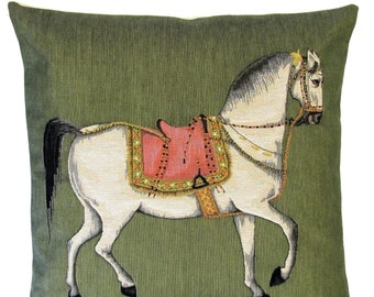 """jacquard woven belgian tapestry gobelin throw pillow cushion persian white horse on olive green background 18""""x18"""" - PC-5541"""