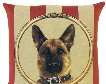 German Shepherd Pillow Cover - 18x18 Belgian Tapestry Cushion - German Shepherd Gift - Alsatian pillow cover - PC-5601